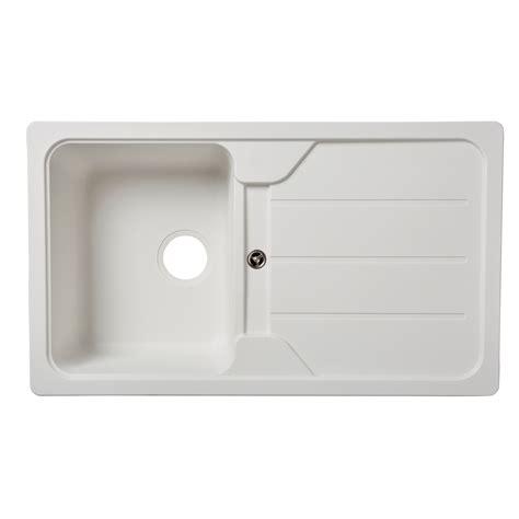 B Q White Kitchen Sinks cooke lewis arber 1 bowl white composite quartz sink