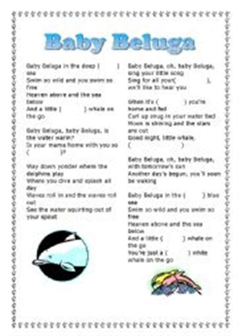 Printable Lyrics Baby Beluga | english worksheets using songs worksheets page 15