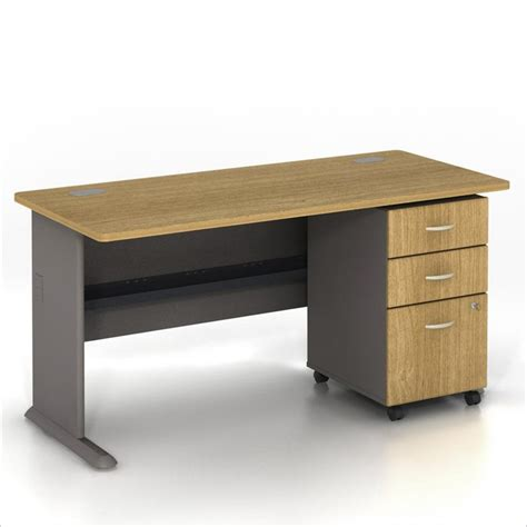 Computer Desk With File Cabinet Bush Bbf Series A 60 Quot Computer Desk With 3 Drawer File Cabinet In Light Oak Wc64360 Pkg2