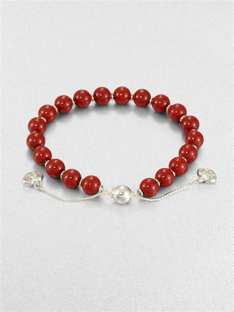 Gucci San Valentino Wood & Sterling Silver Beaded Bracelet in Red   Lyst