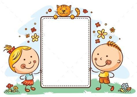 frame design bg cartoon kids with a frame with copy space cartoon kids
