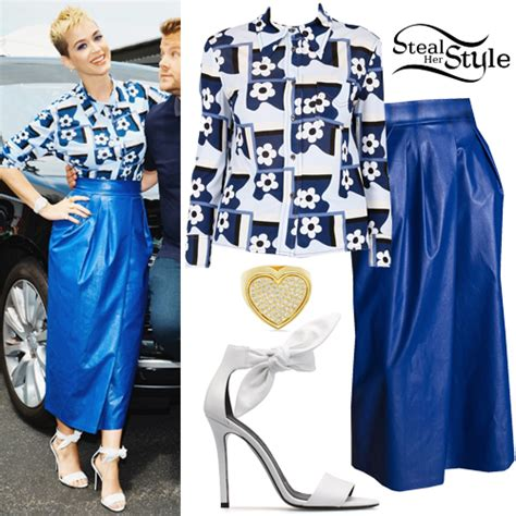 katy perry tattoo shirt katy perry printed shirt blue leather skirt steal her