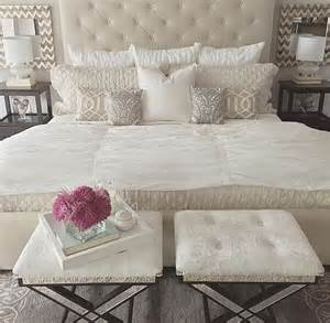 bed pillow ideas soft white and cream bedroom love stools at foot of bed traystyling bedroom pinterest
