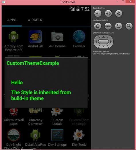 android layout inheritance set custom theme inherited from built in android theme