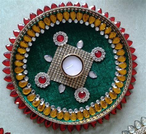 decorative aarti thali online pooja thali pooja plate aarti thali in green base for