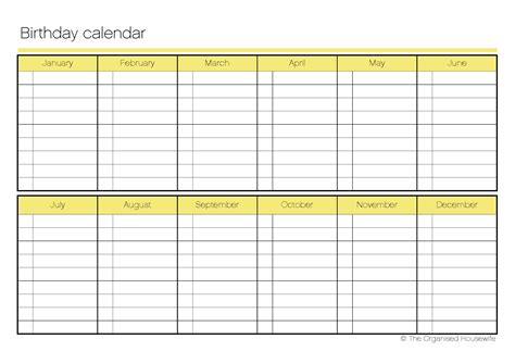 printable birthday calendar template printable birthday calendar the organised