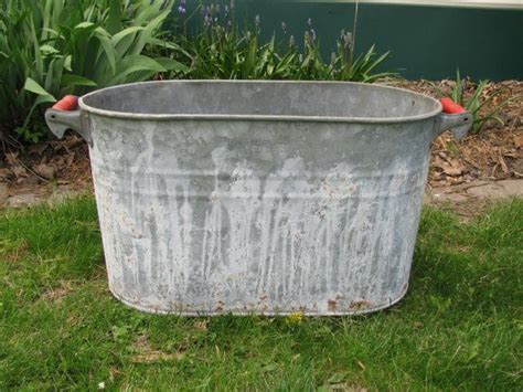 galvanized tub planter large vintage galvanized metal oblong tub planter with woo