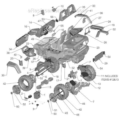 jeep hurricane green power wheels k7112 parts list and diagram green