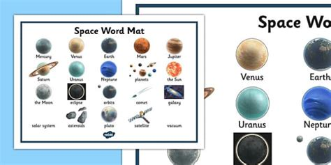 Space Word Mat by Space Word Mat Space Ship Word Mat Mat Writing Aid