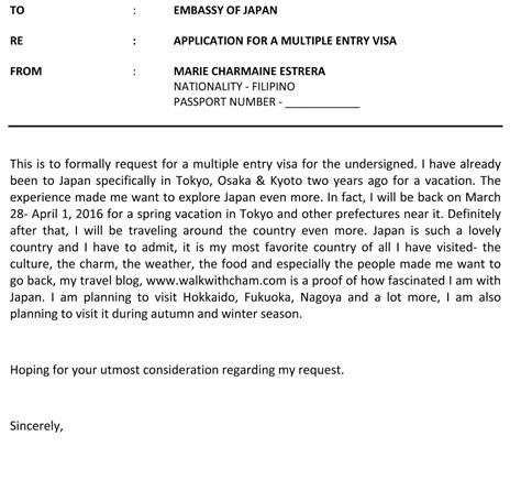 Letter Of Recommendation In Japanese request letter sle for visa application arif ahmad