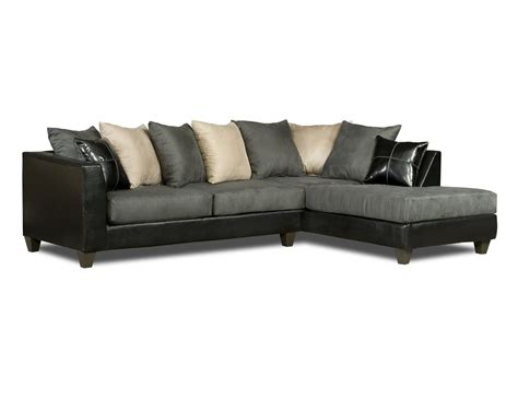 Dark Grey Microfiber Sectional Sofa With Chaise