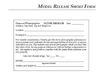Modeling 101 A Model S Diary The Model Release Form Model Photo Release Form Template