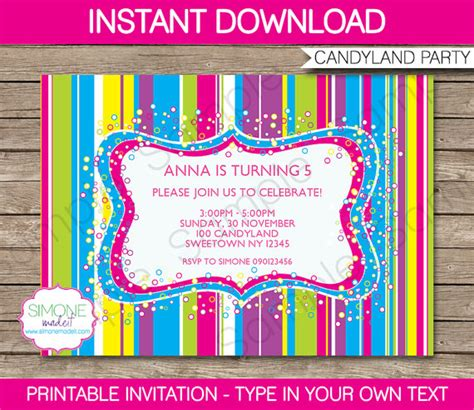printable candyland instructions candyland invitation template colorful birthday party