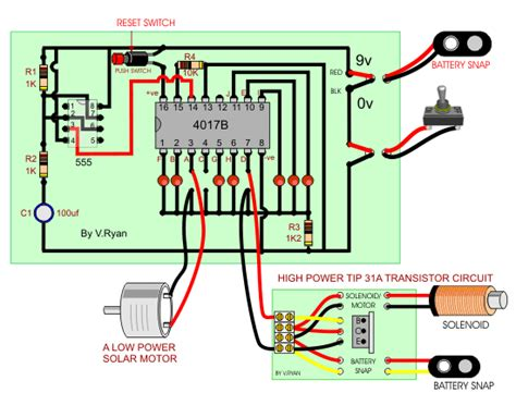 transistor engine adding motors and solenoids to the 4017b decade counter
