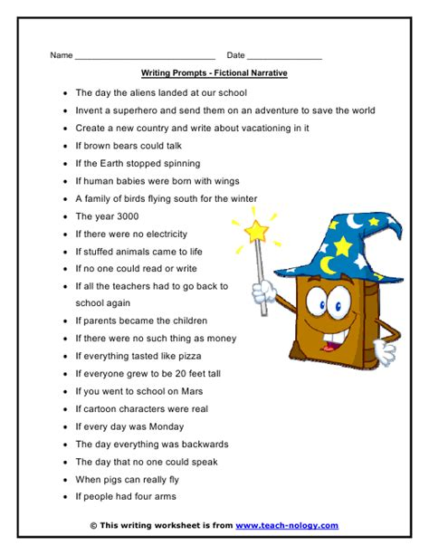 Fictional Narrative Essay Prompts by Narrative Writing Worksheet For Grade 5 Grade