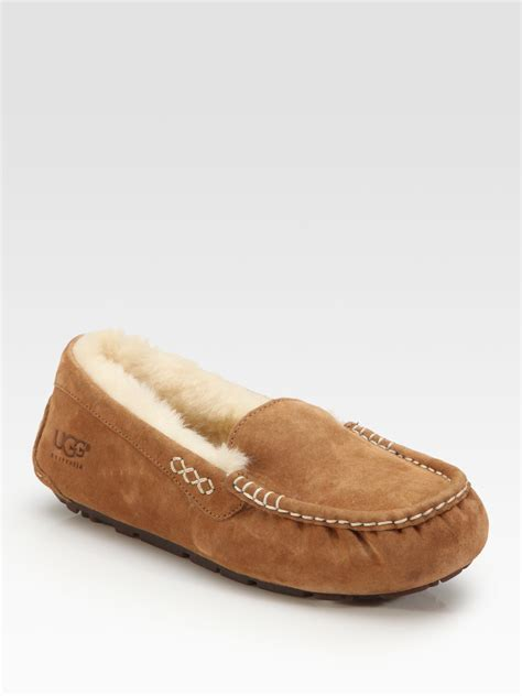 ugg moccasin slippers sale ugg ansley suede moccasin slippers in brown lyst
