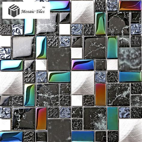 TST Metal Glass Black Tile Iridescent Stone Marks