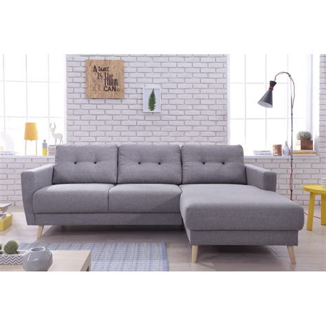 oslo canape d angle droite convertible gris clair 225x147x86cm