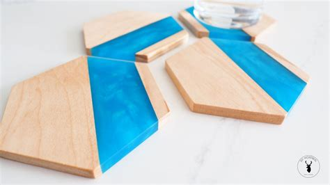 wood epoxy hexagon coasters  steps  pictures