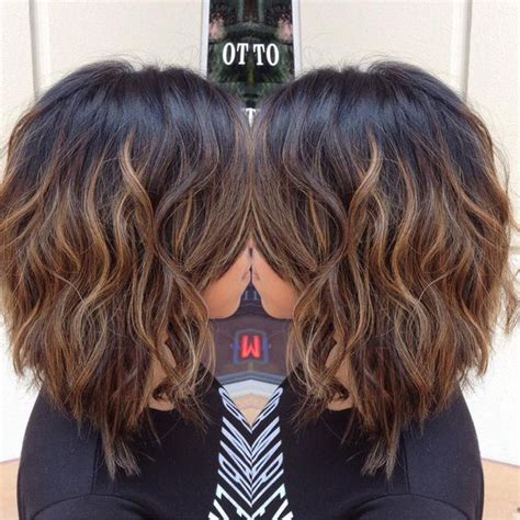 horizontal brakdown hair cutting cut into a long bob and balayaged to break up her black