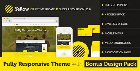 theme wordpress yellow yellow fully responsive theme with design pack by qoopoo