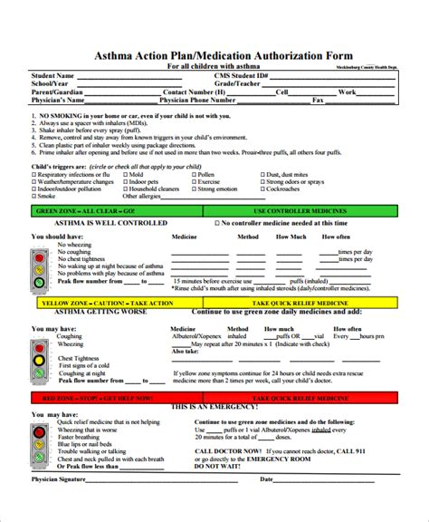 9 Asthma Action Plan Sles Sle Templates Asthma Plan Template