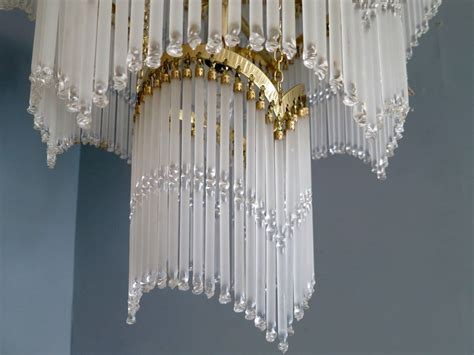 Cascading Chandelier Italian Waterfall Cascading Brass And Glass Chandelier At 1stdibs