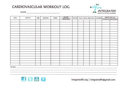 6 Best Images Of Cardio Workout Log Template Free Printable Printable Exercise Log Workout Free Exercise Log Template