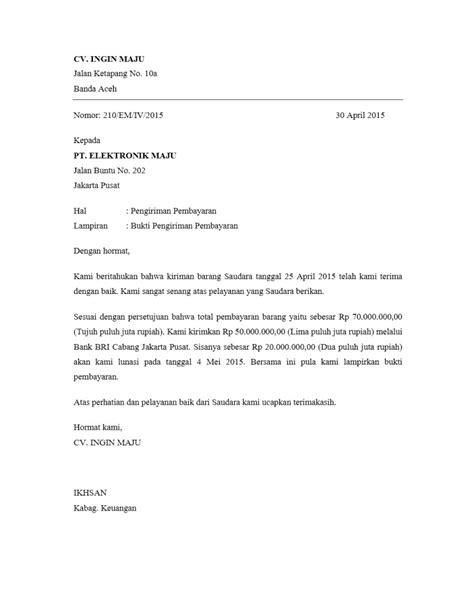 kumpulan contoh surat pengiriman pembayaran yang benar contoh surat org