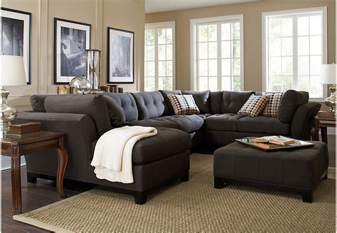 living room grey leather sectional with living room cindy crawford home metropolis slate 4 pc sectional living