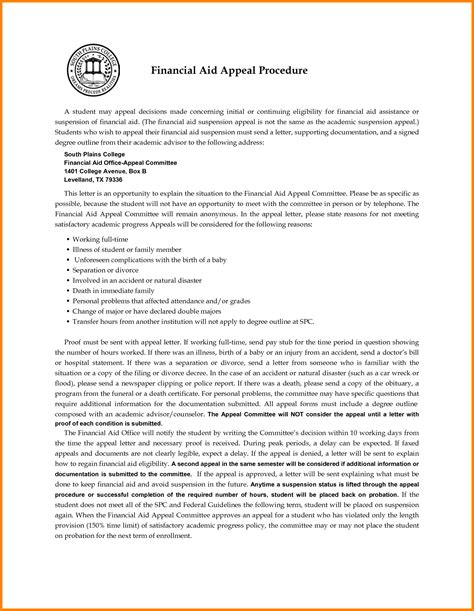 Letter Of Appeal For Scholarship