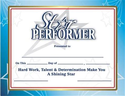 recognition certificates performer certificates