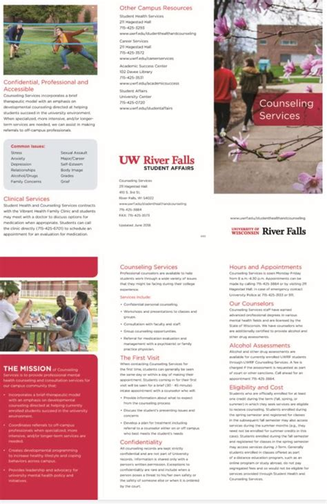 Counseling Services Brochure University Of Wisconsin River Falls Counseling Brochure Templates