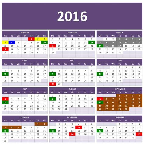 Calendar Template For Excel by 2016 Calendar Templates Microsoft And Open Office Templates