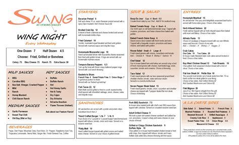 swing menu menus swing at lykens valley