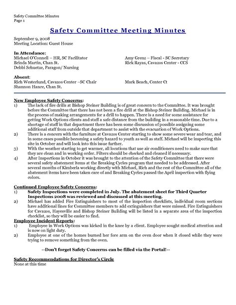 safety committee meeting template search results for sle minutes of a meeting