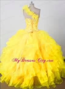 beading ruffles one shouldder yellow pageant dresses for