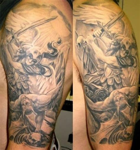 st michael sleeve tattoo designs michael battle inspiration
