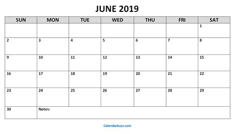 june  printable calendar templates  calendarbuzz