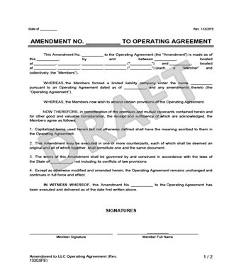 Amendment To An Llc Operating Agreement Create Download Amendment To Llc Operating Agreement Template
