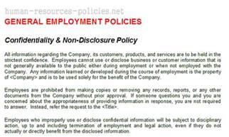 sample human resources policies sample procedures for