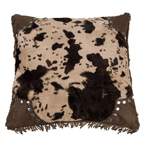 Western Cowhide Pillows - western bedding caldwell cowhide scalloped square pillow