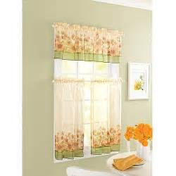Sunflower Curtains Kitchen Yellow Green Beige Country Sunflower Kitchen Curtains Valance And Tiers Set Ebay