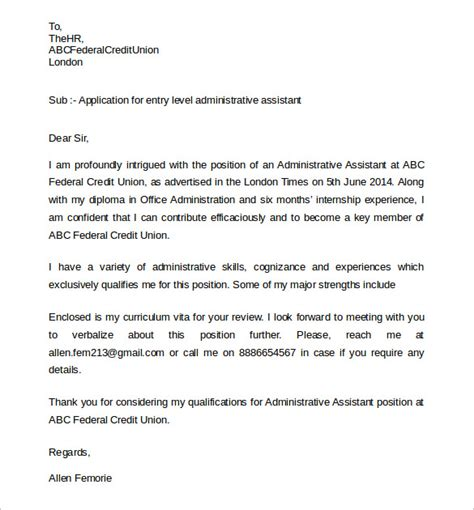 Assistant Cover Letter Format Sle Administrative Assistant Cover Letter 9 Free Documents In Pdf Word