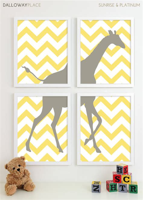 Chevron Nursery Decor Items Similar To Modern Nursery Chevron Giraffe Nursery Print Safari Animal Wall