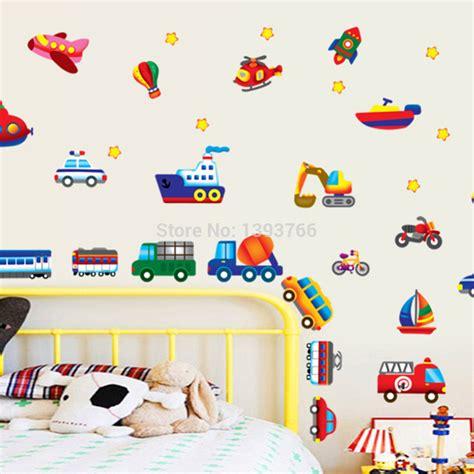 Kids Room Wall Stickers aliexpress com buy kid cartoon car plane wall stickers