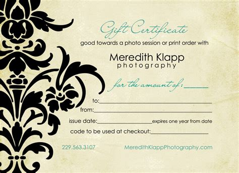 printable gift certificates for photography photography gift certificatesgift certificate for free
