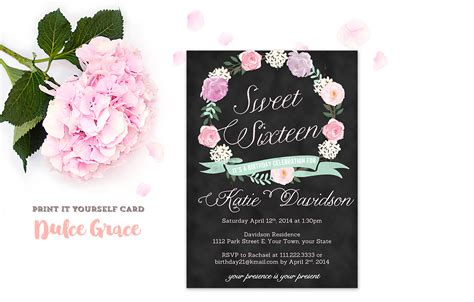 sweet sixteen invitations sweet 16 invitation printable