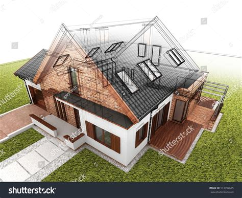 classic home design drafting classic house design progress architectural drawing stock