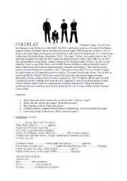 coldplay biography pdf coldplay biography exercises and fill in the gaps song